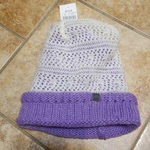 Zumiez lavender purple and white lace beanie